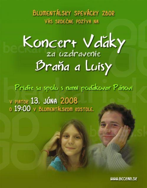 Koncert pre Braňa-plagát - Koncert vďaky za uzdravenie Braňa a Luisy